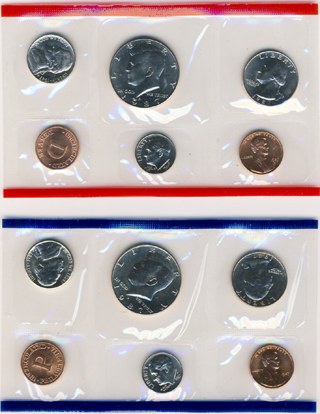 1987 P and D United States Mint Uncirculated Coin Set